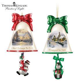 Thomas Kinkade Ringing In The Holidays Ornament Set: Set 8