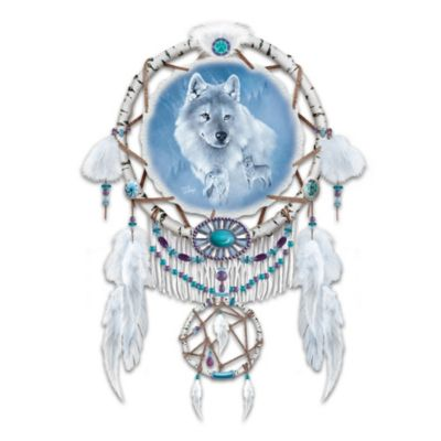 Eddie LePage Dreamcatcher With Wolf Art On Real Leather by