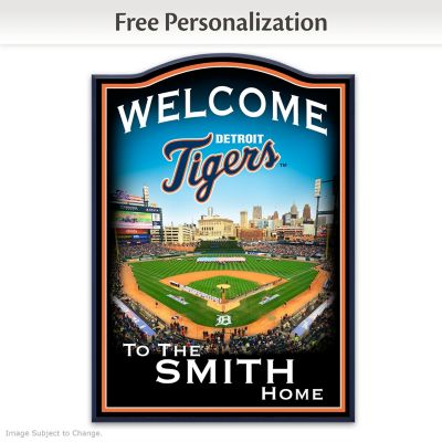 Detroit Tigers Wooden Welcome Sign Personalized With Name by