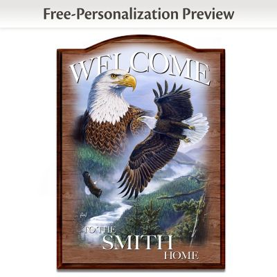 Al Agnew Wooden Welcome Sign Personalized With Name by