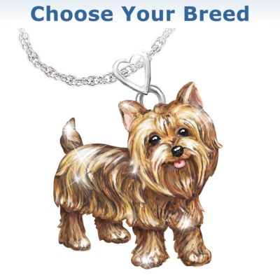 Diamond Dog Pendant Necklace With Movable Legs And Tail by