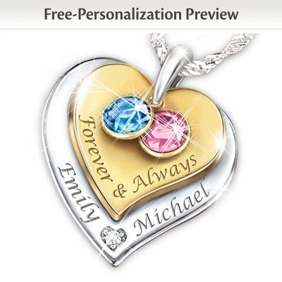 Personalized jewelry bradford exchange forever always personalized diamond pendant necklace aloadofball Gallery