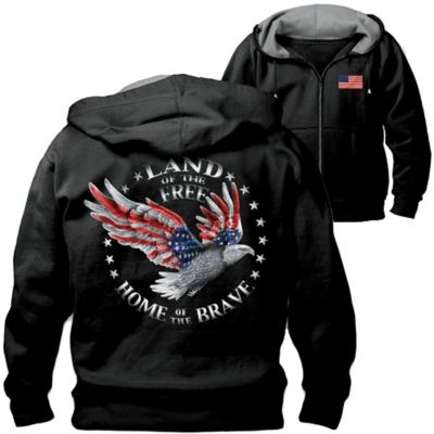 Home Of The Brave Hoodie With Patriotic Eagle Art by
