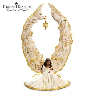 thomas kinkade away in a manger sculpture - Christmas Angel Decorations