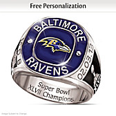 Ravens Champions Commemorative Personalized Ring
