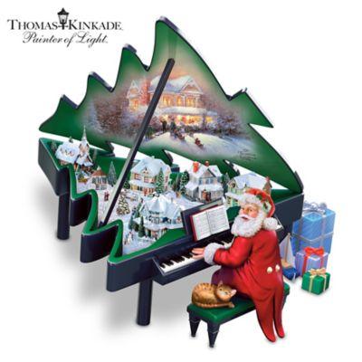 Thomas Kinkade Santa And Piano Illuminated Musical Sculpture by