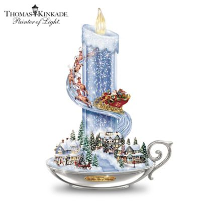 thomas kinkade warm glow of christmas table centerpiece - Disney Princess Outdoor Christmas Decorations