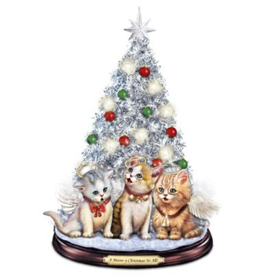 Tabletop Christmas Tree With Singing Jingle Cats by