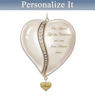 Personalized Heart-Shaped Baby's First Christmas Ornament by