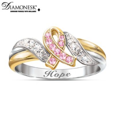 women breast diamond female product black udon of cut for pink organization s support from wholesale rings princess cancer awareness ring jewelry