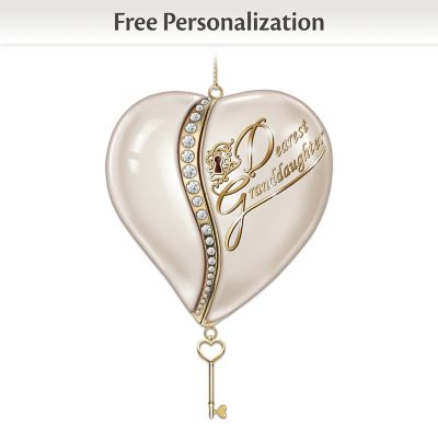 Key To My Heart Personalized Ornament For Granddaughter by