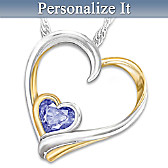 Always In My Heart Personalized Birthstone Pendant Necklace