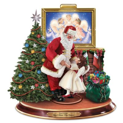 Dona Gelsinger Sculpture With Dancing Santa And Angel by