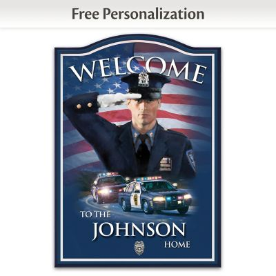Police Force Wooden Welcome Sign Personalized With Name by