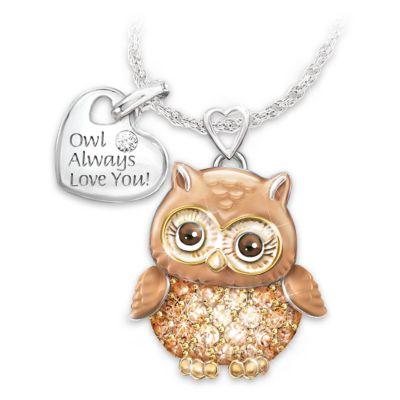 Granddaughter Owl Always Love You Swarovski Crystal Pendant by