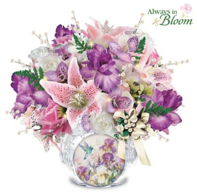 Lena Liu Always In Bloom Lighted Crystal Centerpiece by