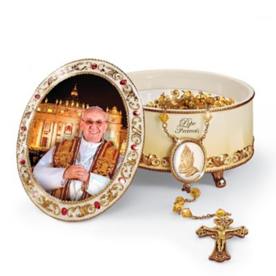 Pope Francis Commemorative Porcelain Music Box With Rosary by