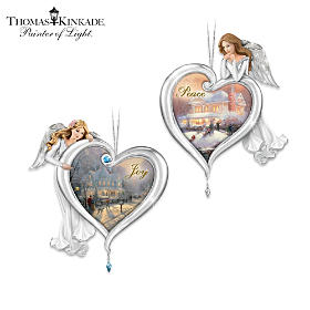 Thomas Kinkade Joy And Peace Ornament Set