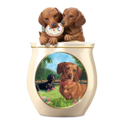 Linda Picken Dachshund Art Ceramic Cookie Jar, Sculpted Lid by