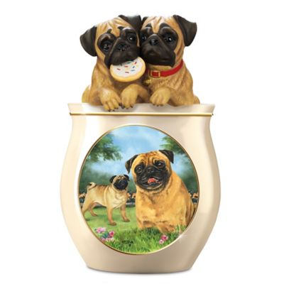 Linda Picken Pug Art Ceramic Cookie Jar, Sculpted Lid by