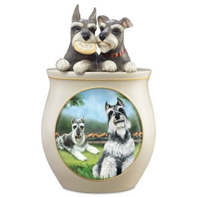 Linda Picken Schnauzer Art Ceramic Cookie Jar, Sculpted Lid by