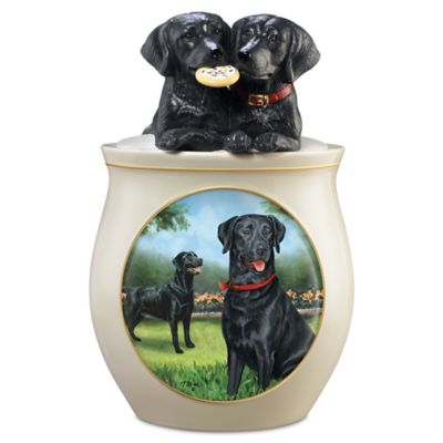 Linda Picken Black Lab Art Ceramic Cookie Jar, Sculpted Lid by