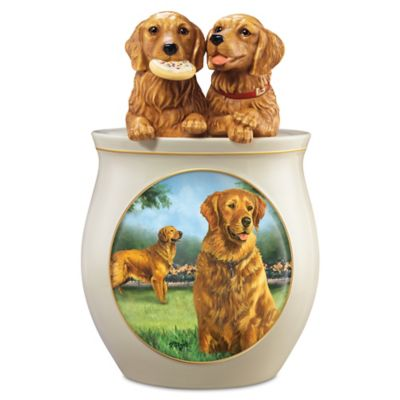 Linda Picken Golden Retriever Art Cookie Jar, Sculpted Lid by