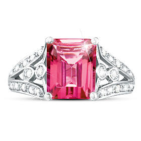 Luxury Pink Topaz & Diamond Ring