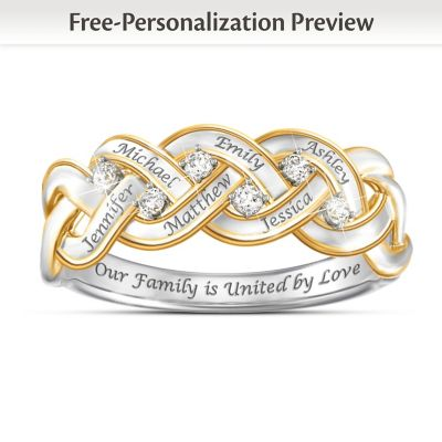 Strength Of Family Diamond Ring With Up To 6 Engraved Names by