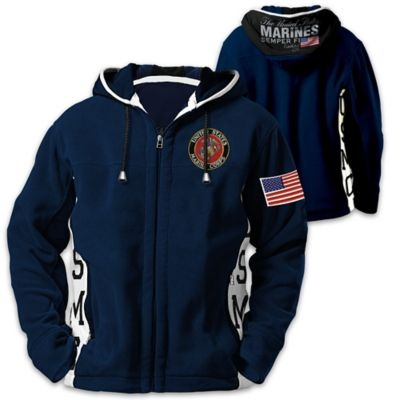 United States Marine Corps Semper Fi Hooded Fleece Jacket by