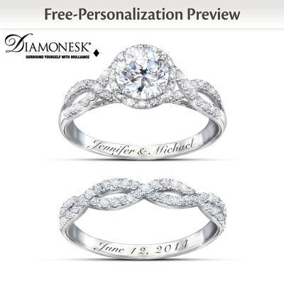 Ring Set Entwined Diamonesk Personalized Bridal Ring Set