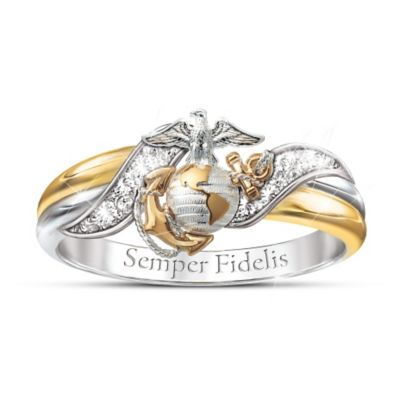 USMC Embrace Diamond Ring With Sculpted Marine Corps Emblem 84380263db