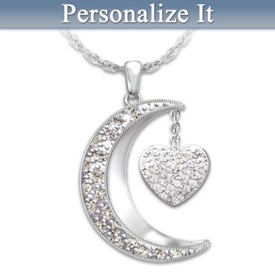 7bf15d4b7 Necklace: I Love My Family To The Moon And Back Personalized Diamond ...