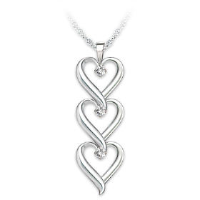 Granddaughter, I Love You Diamond Pendant Necklace