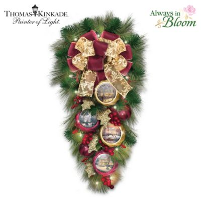 Thomas Kinkade Welcome Christmas Led Lighted Teardrop Wreath