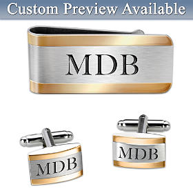 Cuff Links And Money Clip Personalized Men's Accessory Set