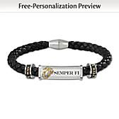 USMC Semper Fi Personalized Men's Bracelet