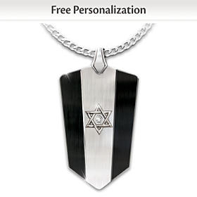 Star Of David Personalized Diamond Pendant Necklace