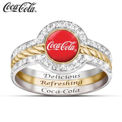 COCA-COLA Crystal Engraved Stacking Ring With Enameled Logo by