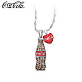 COCA-COLA Crystal Bottle Pendant Necklace