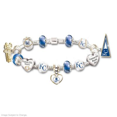 Kansas City Royals Charm Bracelet With Swarovski Crystal by
