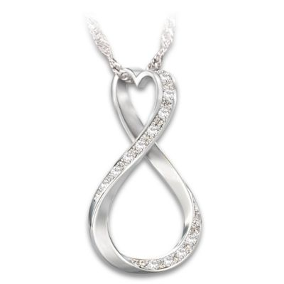 Infinity Engraved Diamond Pendant Necklace For Granddaughter by