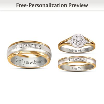 together forever his hers personalized set of diamond wedding rings - Personalized Wedding Rings