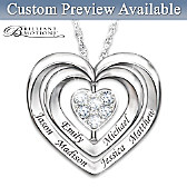 A Family Of Love Personalized Diamond Pendant Necklace