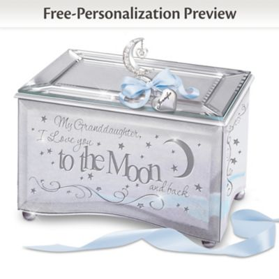Granddaughter I Love You To The Moon Music Box With Name