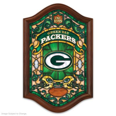 Green Bay Packers Illuminated Wood Frame Stained-Glass Wall Decor
