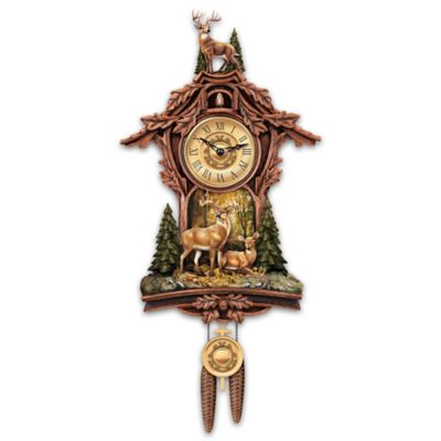 Whitetail Gathering Wall Clock With Buck Sculpture by