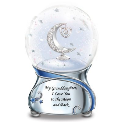 Granddaughter, I Love You To The Moon Musical Glitter Globe by