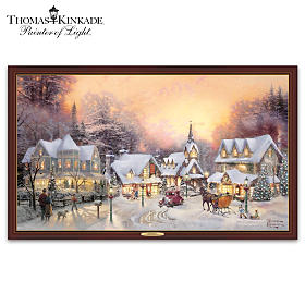 Thomas Kinkade Village Christmas Canvas Print Wall Decor