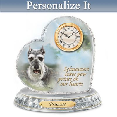 Linda Picken Schnauzer Crystal Clock With Your Dog's Name by